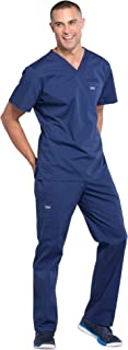 Cherokee Workwear Professionals Men's Scrub Set - WW675 V-Neck Top & WW190 Tapered Leg Drawstring Cargo Pant