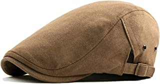 2019 Womens Hats Caps Unisex Cotton Solid Color Adjustable Flat Cap Ivy Duckbill Breathable Newsboy Gatsby Irish Cap (Color : Khaki, Size : Free Size)