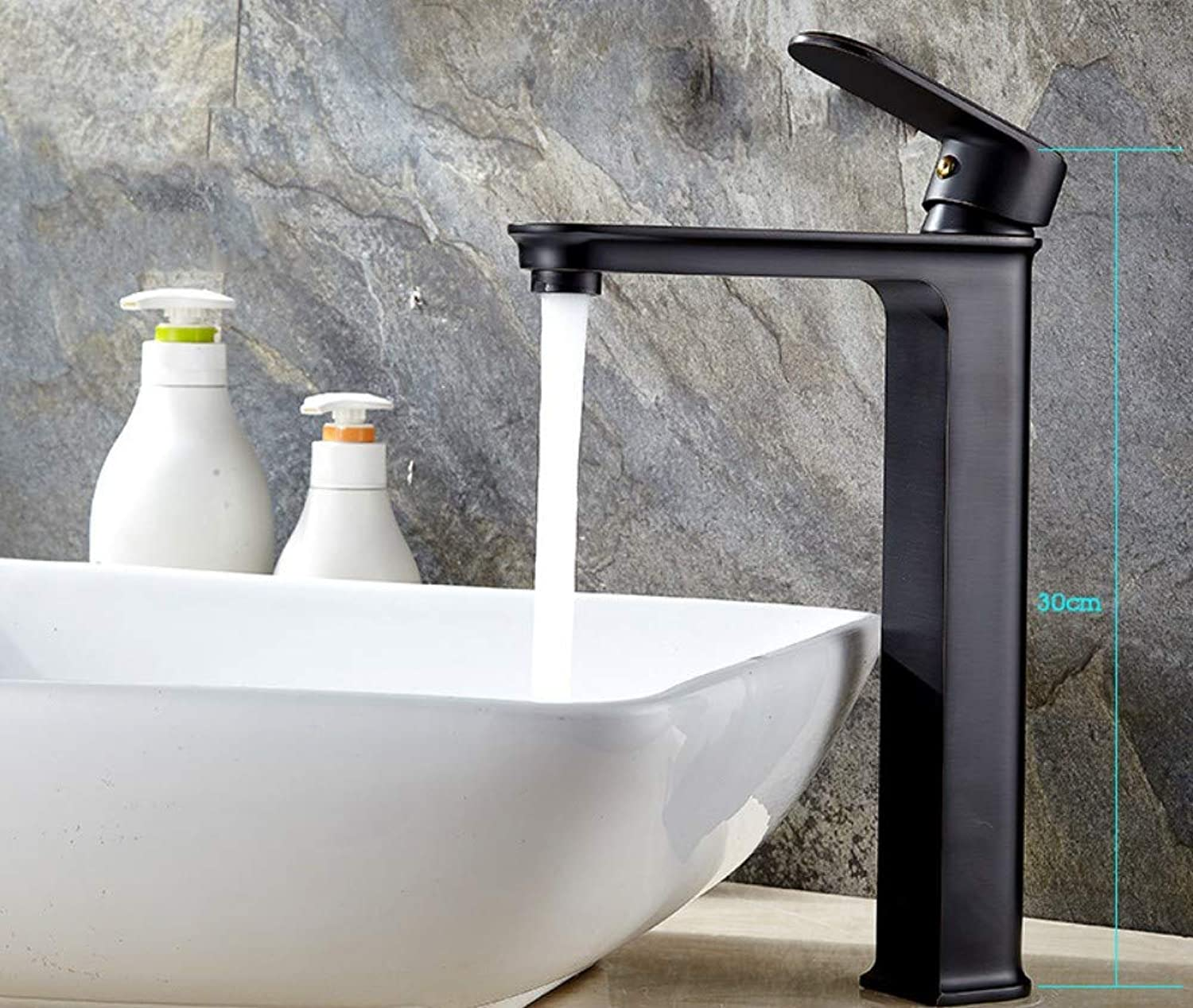 Black Copper Bathroom Faucet Hot and Cold Above Counter Basin Heightened Washbasin Black Ancient Faucet, Round 2