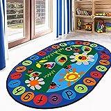 Ustide Kinder-Teppich mit Zahlen und Farben, pädagogisch, Vorleger 2'6'x3'9'Oval marienkäfer