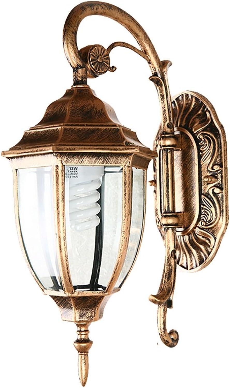 LightSeiEU Continental Retro Auenwandleuchte Wasserdichten Outdoor-Gartenleuchten Lampen kreative Nachttischlampe im amerikanischen Stil Balkon Wandleuchte (Farbe   Bronzer)