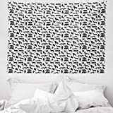 ABAKUHAUS Wild jagen Wandteppich & Tagesdecke, Wilder Eber-Enten-Gans, aus Weiches Mikrofaser Stoff Wand Dekoration Für Schlafzimmer, 150 x 110 cm, Dunkelgrau Weiß