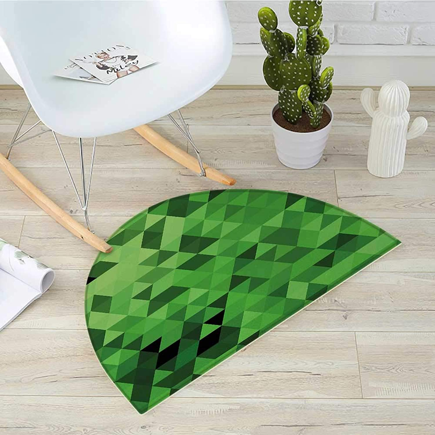 Green Semicircular CushionTriangles in Green Shades Abstract Modern Mosaic Pattern with Fractal Look Entry Door Mat H 39.3  xD 59  Dark Green Pale Green