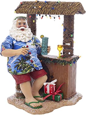 """Kurt S. Adler 11"""" Beach Santa at Tiki Bar Figure"""