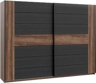 Meubletmoi Armoire Dressing Grande penderie avec 2 Portes coulissantes, décor chêne Noir et Brun - Design Contemporain Chi...