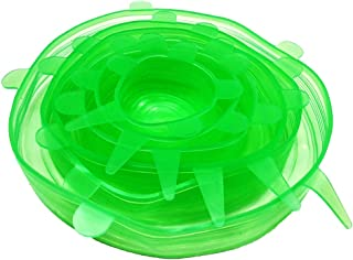 Tapa Elástica de Silicona,6 PCs Fundas para Tazones de silicona Fundas Protectoras para Alimentos Tapa para Colgar Tapa para Taza de olla La alternativa al Film y papel de Aluminio - sin BPA (Verde)