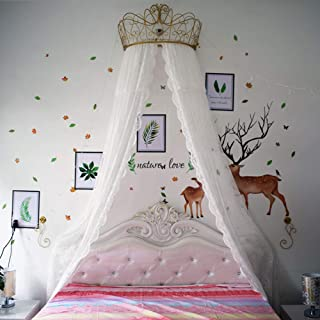 GE&YOBBY Princess Bed Canopy,White Lace Chiffon Bed Curtain Decorative Drapery Metal Crown with Stars Lights for Girls Bedroom-White 59inch