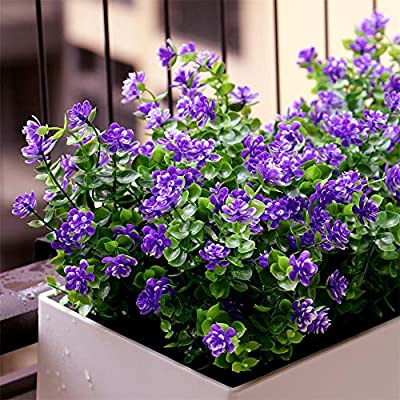 YXYQR Artificial Flowers Outdoor UV Resistant Fake Plastic Plants Outside Indoor Hanging Faux Greenery Shrubs Arrangement for Vase Porch Window Box Patio Wedding Home Decoration 4 Pack (Purple)
