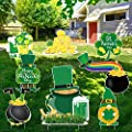 ADXCO 8 Pack St. Patrick's Day Yard Sign with Stakes Irish Leprechaun Shamrock Yard Sign Outdoor Lawn Decorations for Home Garden Porch Decoration
