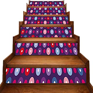 Abstract Stairs Risers Stickers Wall Geometric Circles with Inner Tone Round Artsy Retro Dots Print Landscaping Decoration Purple Light Pink Lavender Red W 39