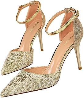 Amazon Tacón Dorado esTachuelas Zapatos Para De lF1TcKJ