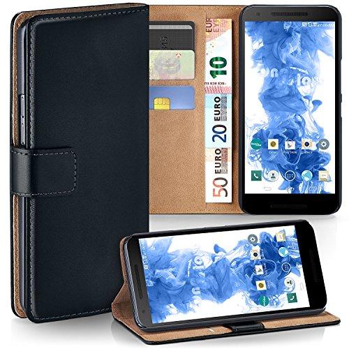 MoEx® Booklet mit Flip Funktion [360 Grad Voll-Schutz] für LG Google Nexus 5X | Geldfach und Kartenfach + Stand-Funktion und Magnet-Verschluss, Schwarz