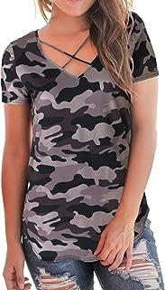 Women's T-Shirt Short Sleeve Floral Tees V Neck Criss Cross Summer Tops