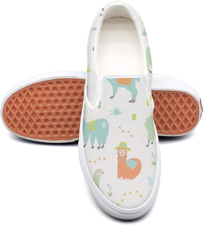 Refyds-es Pink Cute Llama Womens Fashion Slip on Low Top Lightweight Canvas Basketball shoes