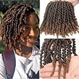 Leeven 8 Inch Pre-twisted Spring Twist Hair 6 Packs Ombre Brown Short Crochet Braids Hair For Bob Spring Twists Braiding Hair Synthetic Passion Twist Hair For Black Women (15strands/pack,T27)