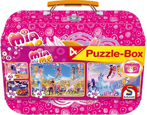Schmidt Spiele 56510 Mia & Me, 4 Kinderpuzzle im Metallkoffer, 2x60 und 2x100 Teile