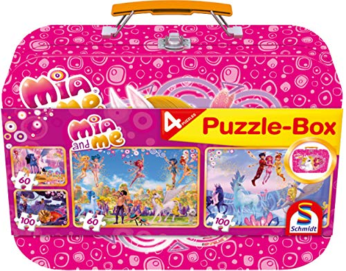 Schmidt Spiele 56510 Mia and Me Mia & Me, Puzzle-Box im Metallkoffer, 2x60 und 2x100 Teile Kinderpuzzle, bunt