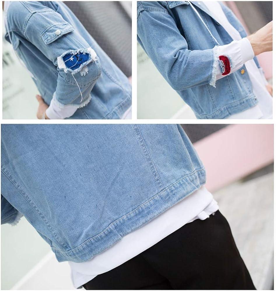 LKKOY My Hero Academia Herren Langarm Jacke Oversize Feste Farben Für Business Freizeit Mit Revers Denim Jacket 2D Denim Jacket Blue and White B