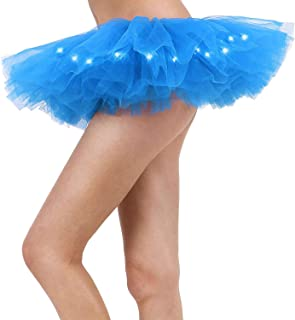 Women's Tutu Skirt Rainbow with Led Light Up Pleated Tulle Costume Party Dance Dress