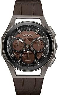 Men's Bulova Curv Chronograph Brown Leather Strap Watch 98A231