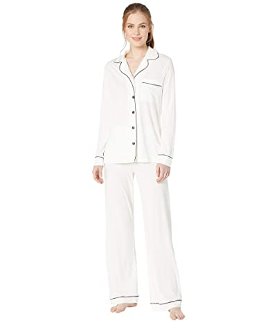 Cosabella Bella Long Sleeve Top Pants PJ Set (Moon Ivory/Platinum) Women