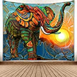 YISURE Ethnic Elephant Tapestry Wall Hanging Hippie Bohemian Curtain Psychedelic Indian Style Blanket for Bathroom Bedroom Dorm Art Decoration, Corlorful, 80x60''