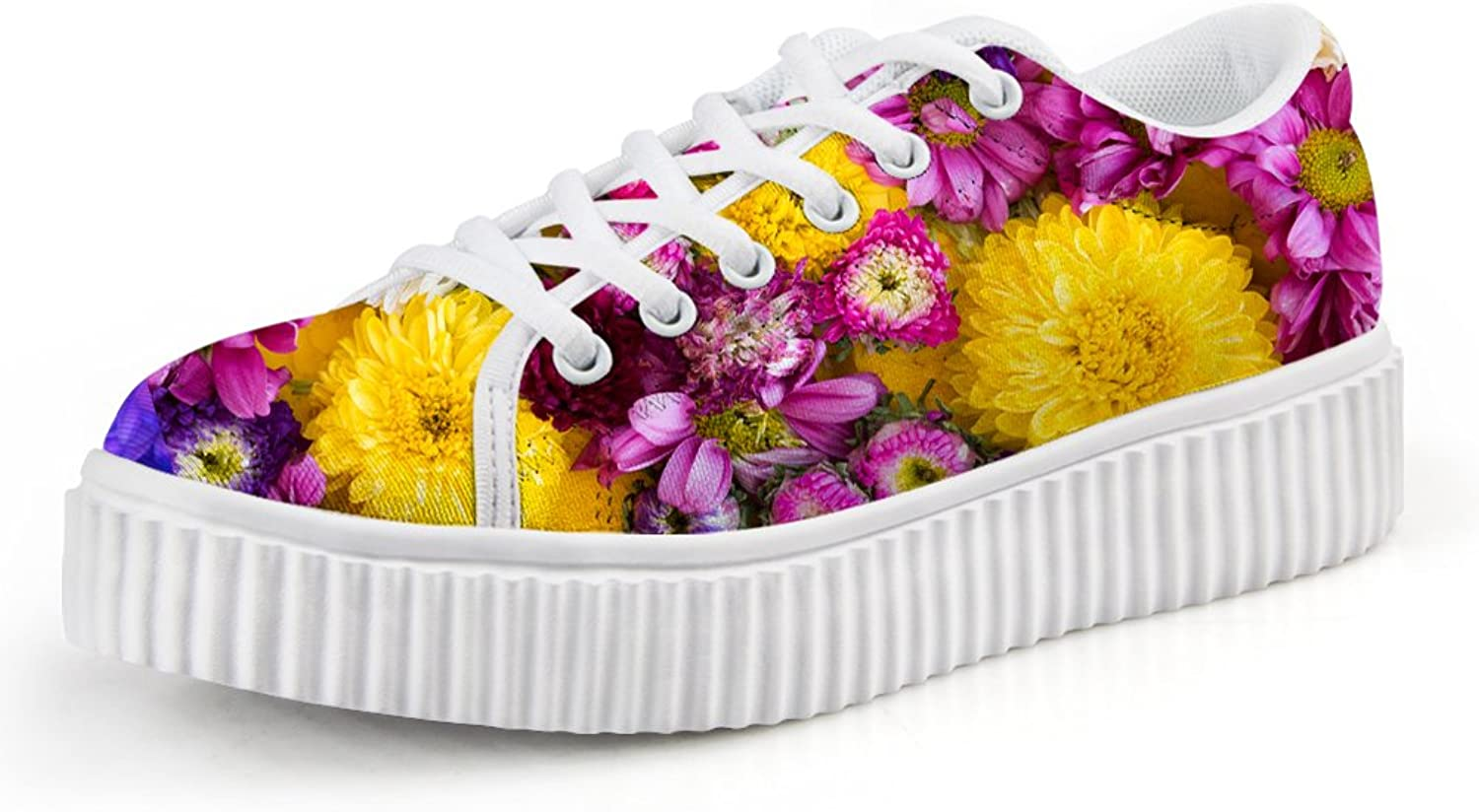 Chaqlin Beauty Floral Platform shoes Casual Walking Sneaker Size 37