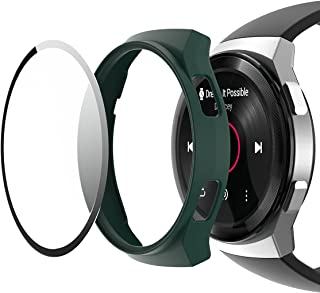 Cover, full protection, built-in, glass screen, compatible with Huawei watches Gt2E, dark green color