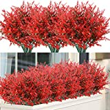 ArtBloom 8 Bundles Outdoor Artificial Lavender Fake Flowers UV Resistant Shrubs Plants, No Fade Faux Plastic Greenery for Hanging Plants Garden Porch Window Box Home Wedding Farmhouse Decor (Red)