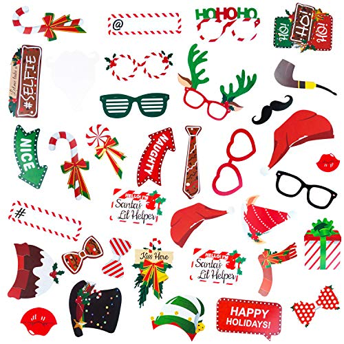 Christmas Photo Booth Props - 38 Pcs Christmas Props for Pictures Funny Selfie and Photo Prop Pack for Christmas and New Year Party, Holiday Photo Booth Props for Kids and Adults