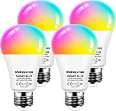 Makayuron Alexa Smart Bulb WiFi Light Bulbs E27 Screw,10W 1000LM, App or Voice Control, Dimmable White and RGBCW Colour Ch...