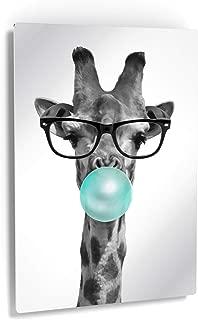 Smile Art Design Cute Giraffe with Glasses Animal Bubble Gum Art Teal Blue Metal Print Metal Wall Art Black and White Art Pop Art Living Room Kids Room Nursery Decor Ready to Hang Made in USA - 12x8