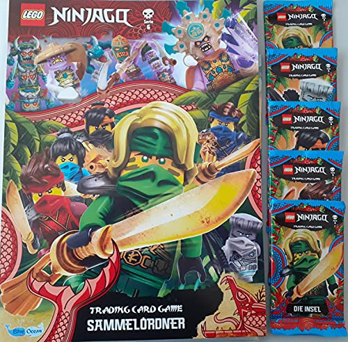 Blue Ocean Lego Ninjago Karten Trading Cards Serie 6 - Die Insel (2021) - 1 Sammelmappe + 5 Booster + 2X C-Shock