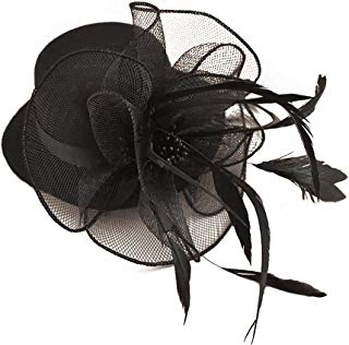 Song Qing Ladies 1920s Flower Decor Feather Fascinator Burlesque Mini Top Hat Hair Clip