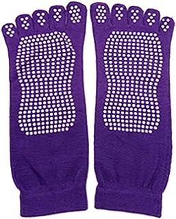 Calcetines de yoga Antideslizantes Calcetines antideslizantes Agarre de punta completa con agarres Algodón para mujeres (Perfecto para Pilates, Yoga, Barre, Danza, Artes marciales, Trampolín, Fitness)