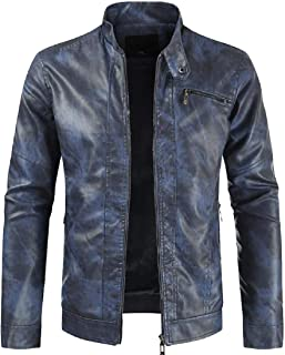 Asibeiul Mens Leather Jacket Biker Motorcycle Warm Coat Long Sleeve Zip Outwear Blouse Casual Solid Color Work Winter Spring