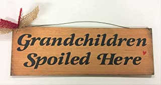 The Little Store Of Home Decor Grandchildren Spoiled Here Hand Stenciled Wooden Wall Art Sign for Grandparents Grandmother