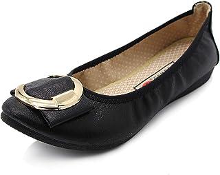 [L-RUNJP] レディースシューズ パンプス 折りたたみ ぺたんこ フラットシューズ 婦人靴 美脚 持ち運び 歩きやすい 柔らかい