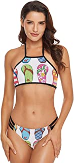 Flip Flops Frenzy Surfboard Womens Bikini Set Halter Tie Crochet Thong Brazilian Triangle
