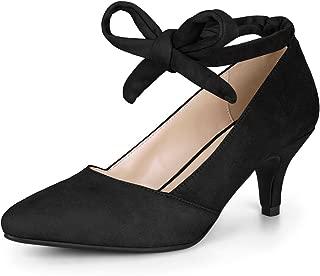 Women's Pointed Toe Lace Up Kitten Heel Pumps