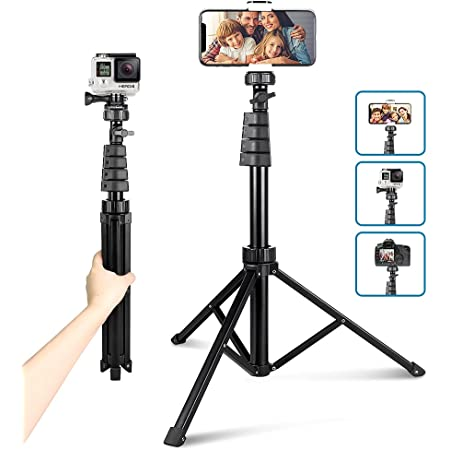 """62"""" Phone Tripod Accessory Kits, Aureday Camera & Cell Phone Tripod Stand with Wireless Remote and Universal Tripod Head Mount, Perfect for Selfies/Video Recording/Vlogging/Live Streaming"""