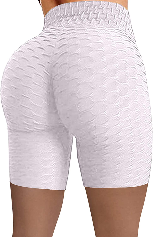 High Waisted Leggings for Women Butt Lift Wrinkled Yoga Pants Tummy Control Training Running Shorts