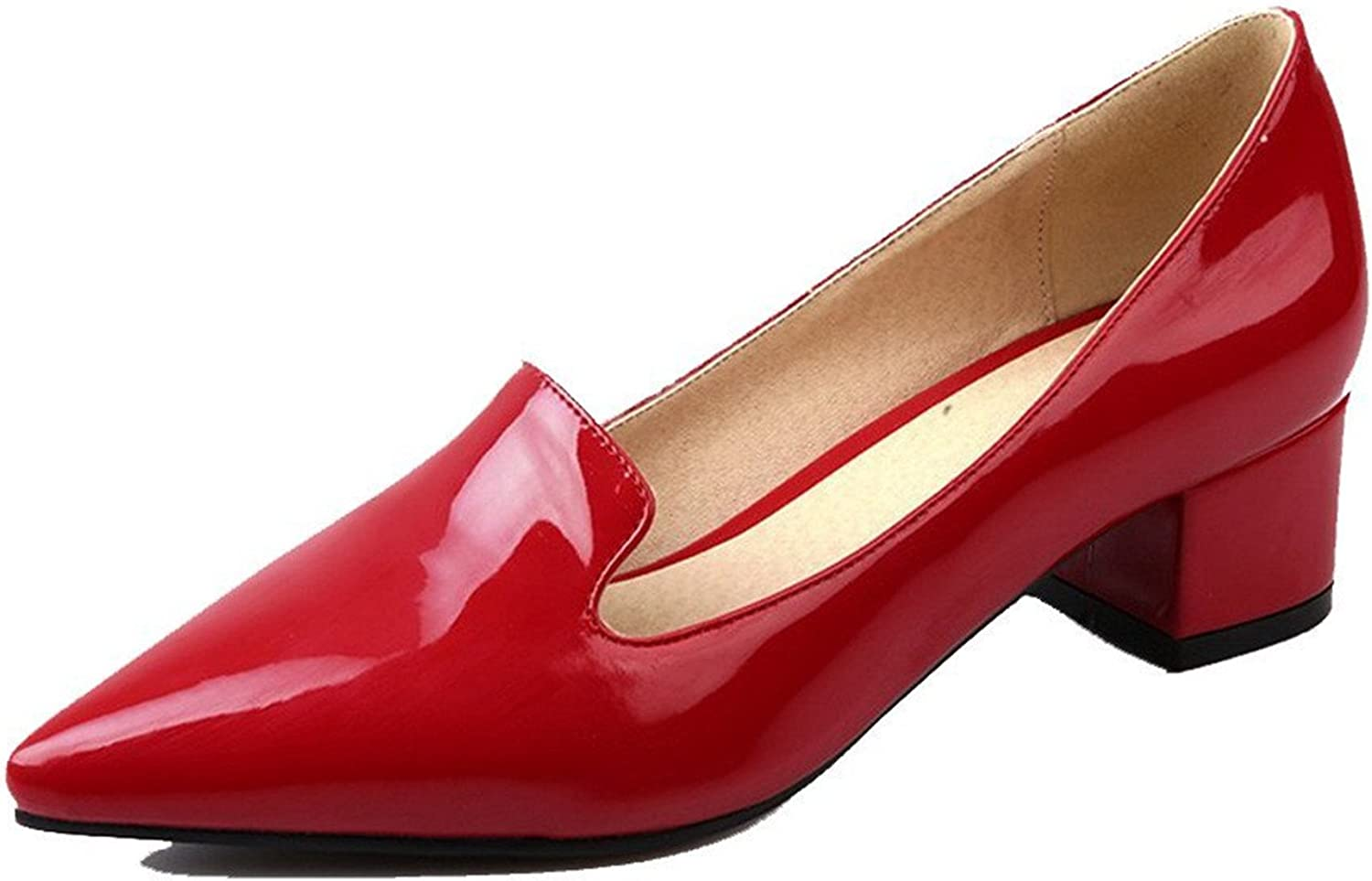 Tirahse Comfortable Women's Patent Leather Pointed Closed Toe Kitten Heels Pull On Solid Pumps-shoes