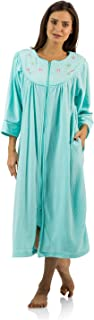 Women's Zipper Front Jacquard Fleece Long Robe Duster
