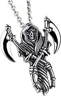 Vintage Silver Hell Soul Reaver Sickle Grim Reaper Night Demon Great Skull Necklace