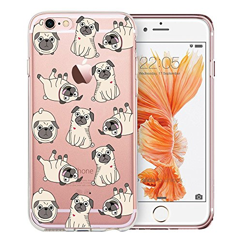 Unov Case Clear with Design Embossed Pattern Soft TPU Bumper Shock Absorption Slim Protective Case for iPhone 6s iPhone 6 4.7 inch(Pug Dog)