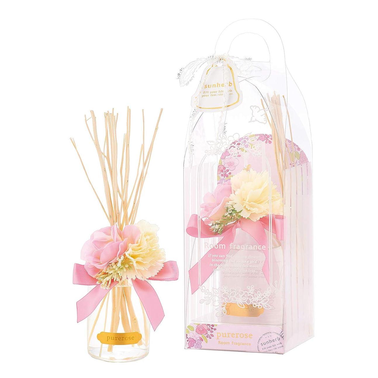 軽減する伝統恒久的サンハーブ ルームフレグランスフラワー ピュアローズ 100ml(芳香剤 花かざり付 うっとり幸せなばらの香り)