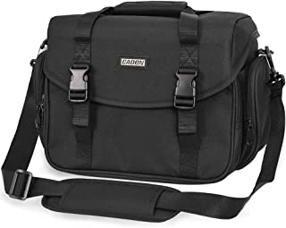 CADeN Camera Bag Case Shoulder Messenger Bag with Tripod Holder Compatible for Nikon, Canon, Sony, DSLR SLR Mirrorless Cameras Waterproof Black