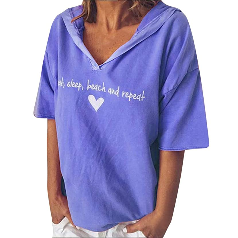Womens Sexy Tops 2019 Fashion,YEZIJIN Women Fashion Casual Short Sleeve V-Neck? Letter Print? Tops T-Shirt Blouse