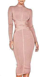 Women's Long Sleeves Cross Strap Ribbed Club Party Midi Bodycon Bandage Dress